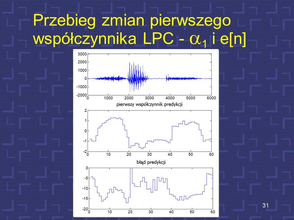 Przebieg zmian pierwszego współczynnika LPC - a1 i e[n]